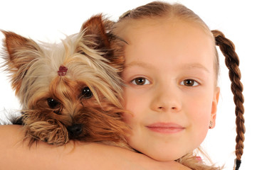 Little girl with Yorkie pup