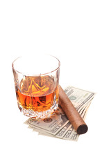 drink with cigar and money