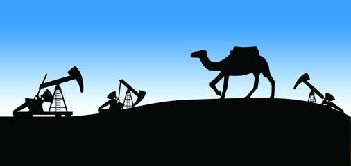 Blue oil skyline with camel