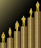 Investors grow wealth on gold coin stack chart poster
