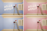 Maternity Series of Pink And Blue Empty Rooms - XXXL poster