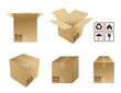 Cardboard boxes with icons