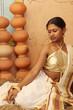 woman model in designer blouse,kerala sari