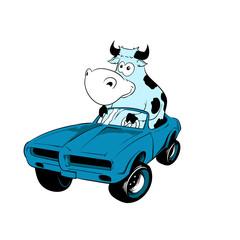 Cow Driving A Car Mascot