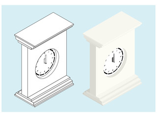 3d isometric drawing of a clock.