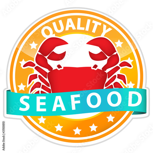 crab in seafood sign isolated on white background
