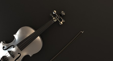 Silver Violin on dark background