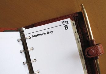 Mother's Day diary date in a presonal organizer