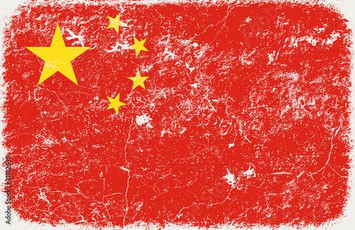 grunge styled flag of china