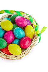 closeup of colorful easter eggs in basket