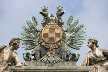 Statue composition - Albertina Castle , Vienna, closeup