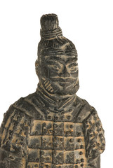 Statuette of a chinese terracotta warrior on white background