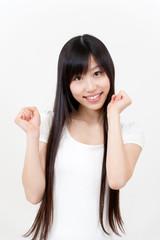 beautiful asian woman cheering