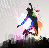 Fototapety Young man jumping over city background.