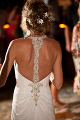 up do with flowers back dress