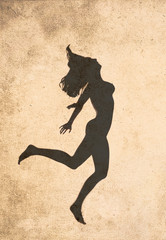 Silhouette of jumping nude woman on vintage background
