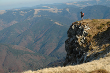 Girl on the top of the mountain. Maramures mountains, Romania