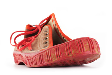 old red sport shoes