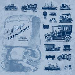 antique transportation set (vector)