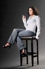 Smoking fetish model