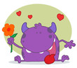 Happy Purple Monster Holding A Yellow Flower