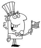 Outlined Uncle Sam Smiling And Waving A Flag poster