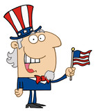 Energetic Uncle Sam Smiling And Waving A Flag poster