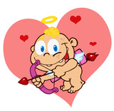 Cute Cupid with Bow and Arrow Flying In Front Of A Heart