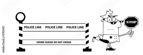 Outlined Police Line And Traffic Police Officer