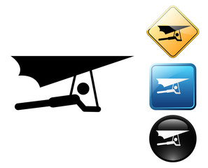 Hang glider pictogram and signs