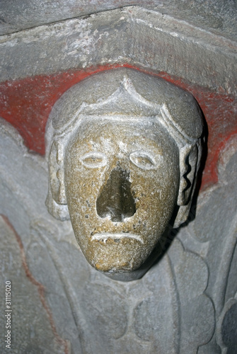 Head statue in the Benedictine Abbey, Pannonhalma, Hungary