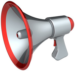 Megaphone news speech loudspeaker colored silver metallic