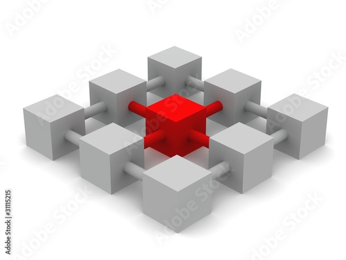 3d render of cubes connected by links