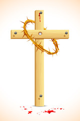 Crown of thorns on Wooden Cross