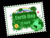 Earth day stamp poster