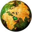 saudi arabia flag on globe map