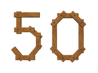 wooden number fifty
