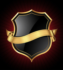 Black shield with a golden frame and a ribbon for your message
