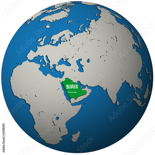 saudi arabia flag on globe map