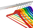 Rainbow hangers on clothes rail