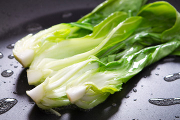 bok choy in pan