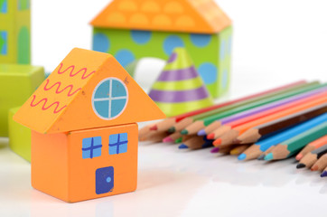 color pencils and building blocks