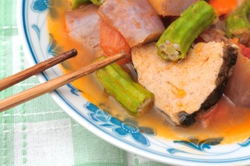 Fish head vegetable soup