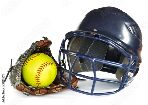 Helmet, Yellow Softball, and Glove