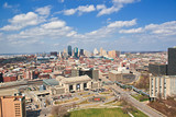 Fototapety Skyline of Kansas City with Blue Fluffy Clouds