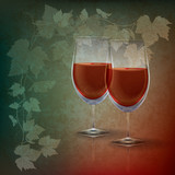 abstract grunge illustration with wineglasses