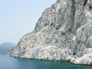 white high rocks in aegean sea