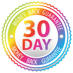 rainbow money back guarantee sign isolated on white background