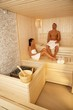 Couple relaxing in sauna