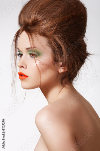 Modern hairstyle on luxury model, fashion spring make-up